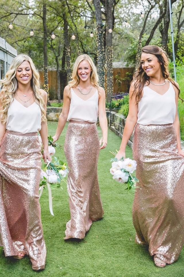 Two Tone Country Bridesmaid Dresses White And Rose Gold Sequins 2017 Cheap Formal Party Gowns Wedding Maid Of Honor Dress Plus Size Wholesale