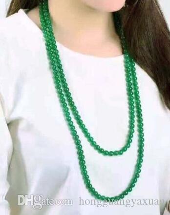 Mode Collier pierres précieuses perles rondes Jade vert 8mm naturelle de la femme 50 « » Long
