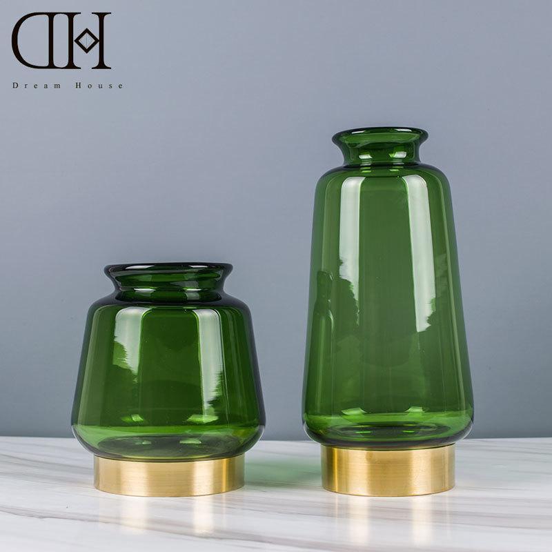 Genuine Dream House Dh Vs127263 Modern Green Glass Flower Vase
