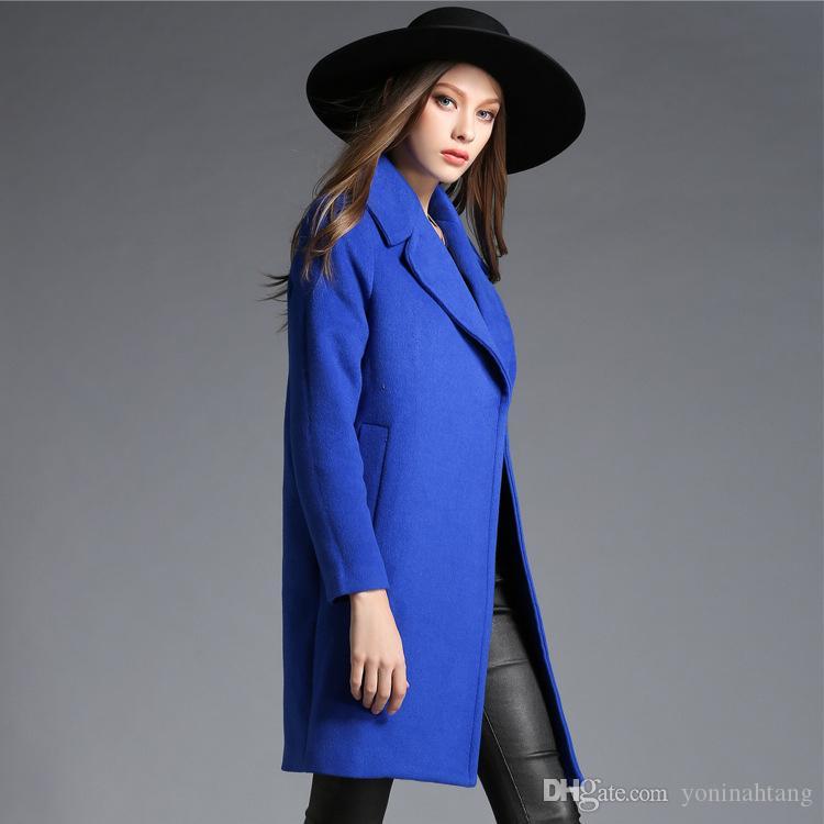 511d01ea2fd Wholesale Wool Coat Women Autumn Winter Jacket Coat Slim Fashion Trech Coats  Female Turn Down Double Breasted Overcoats Wool Coat Online with   102.98 Piece ...