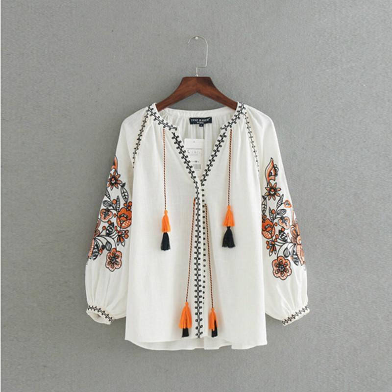 ebebb16d12 Maglietta con scollo a V a righe vintage con ricamo floreale a righe  Camicia a maniche lunghe in misto lino con motivo floreale in cotone etnico