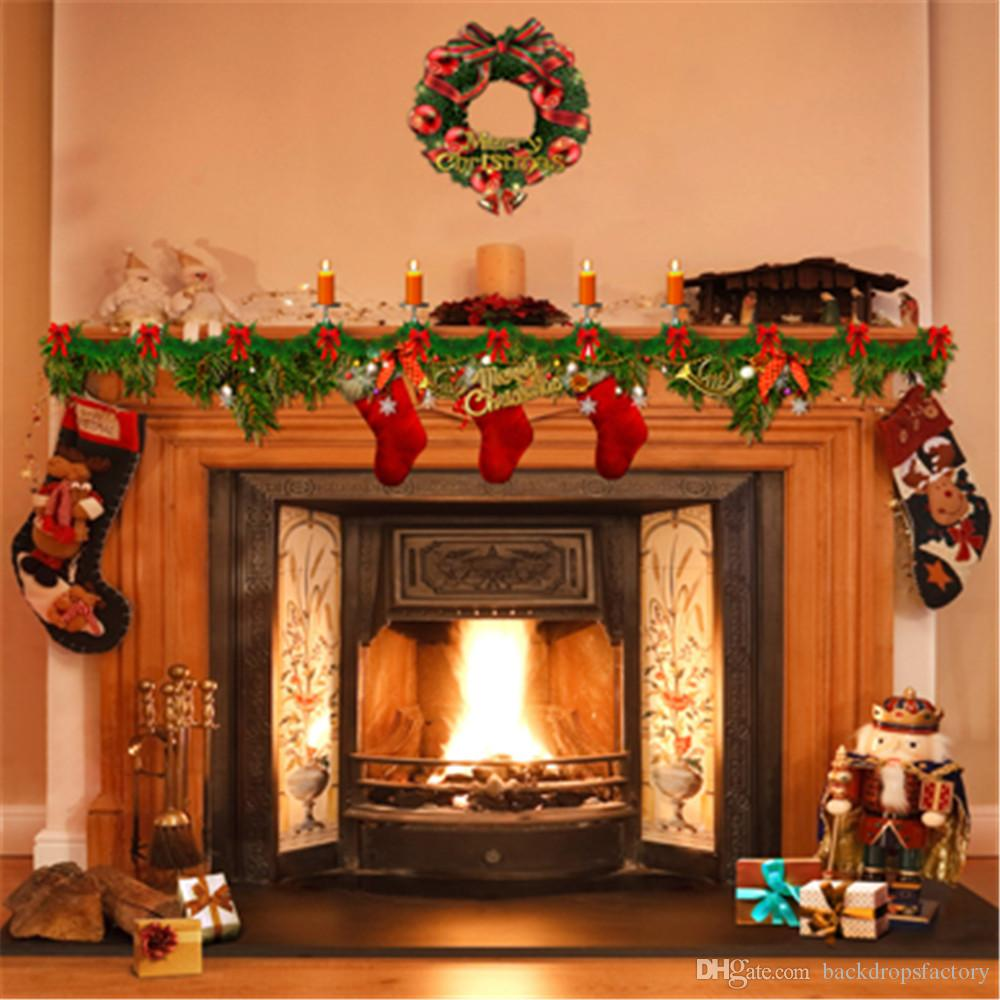 10x10ft indoor fireplace background vinyl green pine wreath candles gift stockings merry. Black Bedroom Furniture Sets. Home Design Ideas