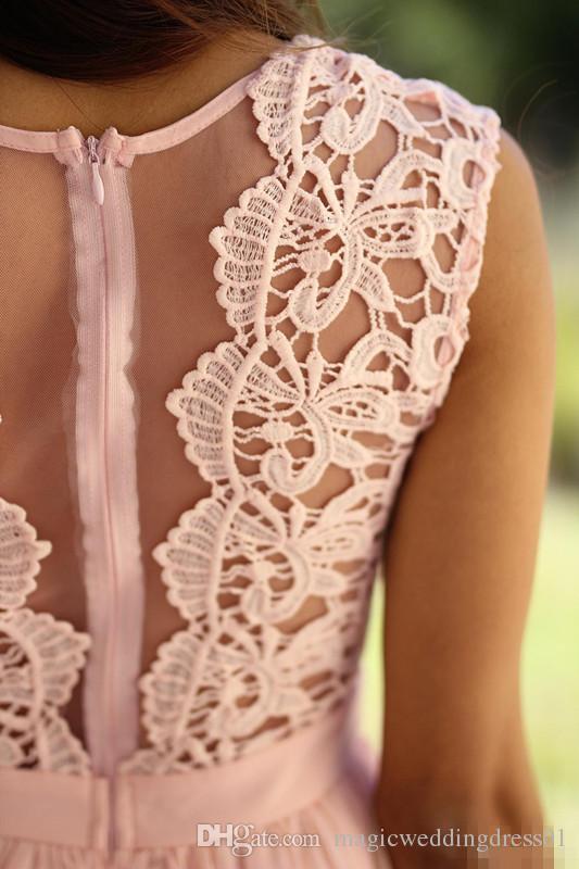 Robes de demoiselle d'honneur 2019 pays pas cher longue pour les mariages Jewel Neck une ligne dentelle rose menthe bleu plus la taille formelle demoiselle d'honneur robes