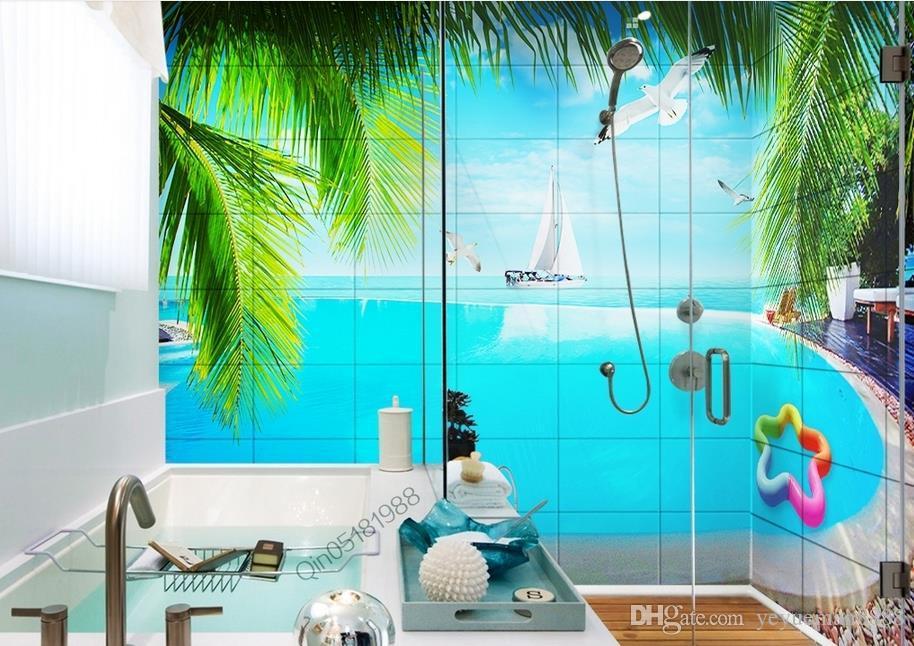 Custom Wallpaper 3d Seaview Pool With Bathroom Wall 3d