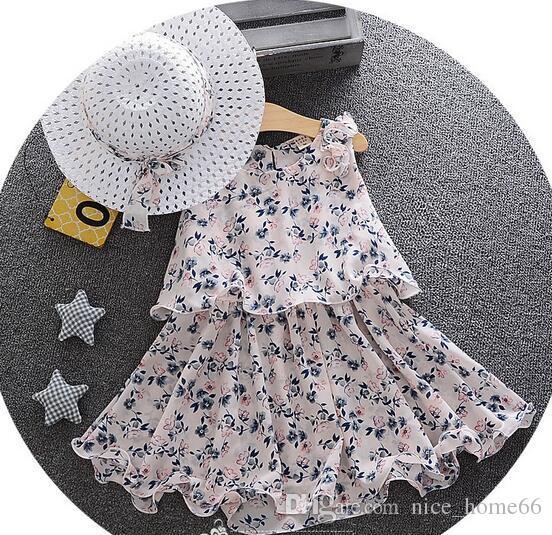 Girls Summer Beach Dress Kids Summer long bohemian Beach Dresses Girs Princess Flower Dress Girls Chiffon Dress with Sun hat
