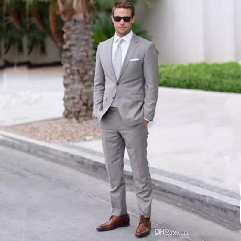 2017 Gray Mens Wedding Suits Two Piece Notched Lapel Mens Fashion ...