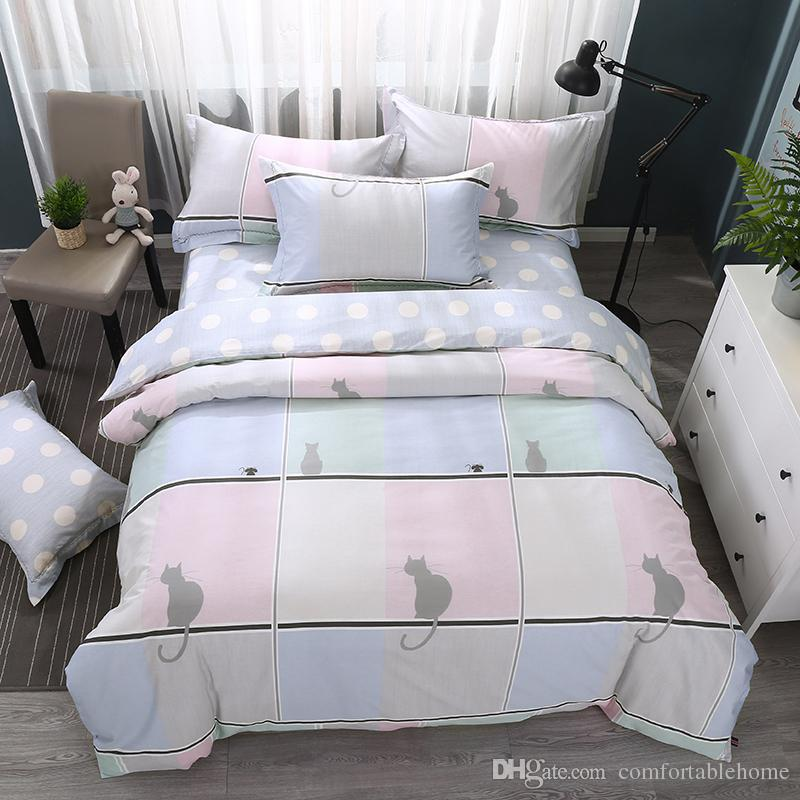 Bedding Set Cat Bed Sheets Home Textiles Individuality Fashion Cotton Feather  Feathers 2.5m Bedspread Set 4 Comfort Spring Summer Grey Comforter Sets  Queen ...