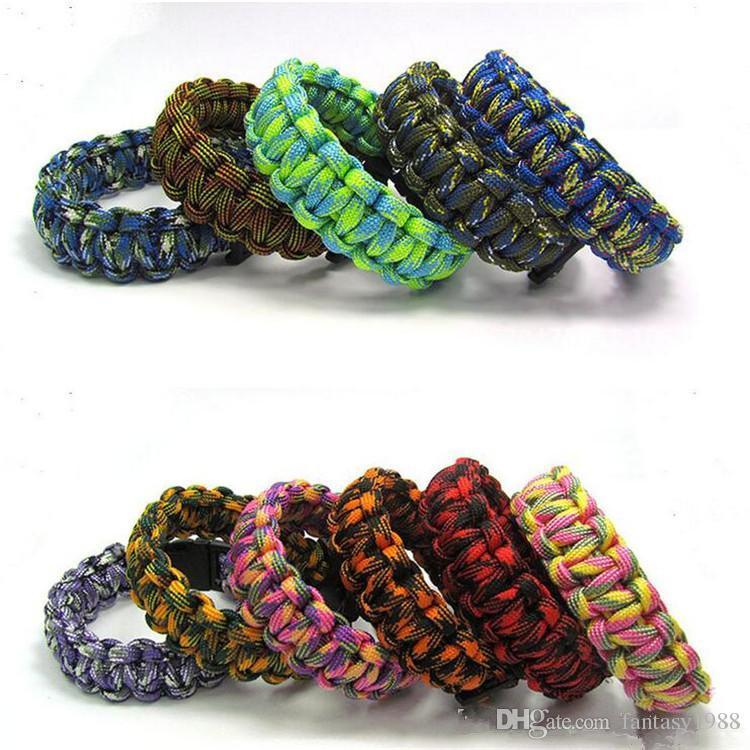 Bracelet Décoration Survival Bracelets Escape Paracord Bracelet Randonnée Camping Voyage À l'extérieur Vêtement Costom Corde Couleur DHL / Fedex Expédition