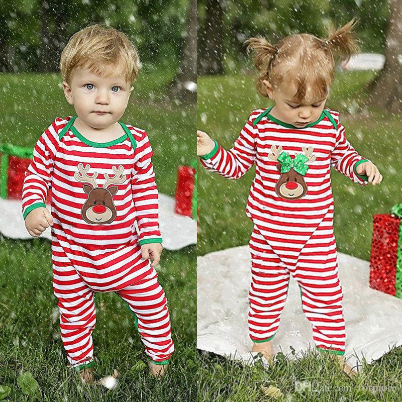 2018 christmas baby girl boys clothes newborn toddler romper suit bebes striped onesies pajamas kid christmas jumpsuit xmas outfit boutique from formore