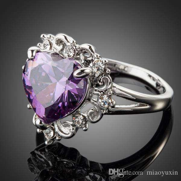 Neoglory Jewelry Swarovski Elements Sparkling Gold/Purple Color Stellux Austrian Crystal Heart Love Ring For Women