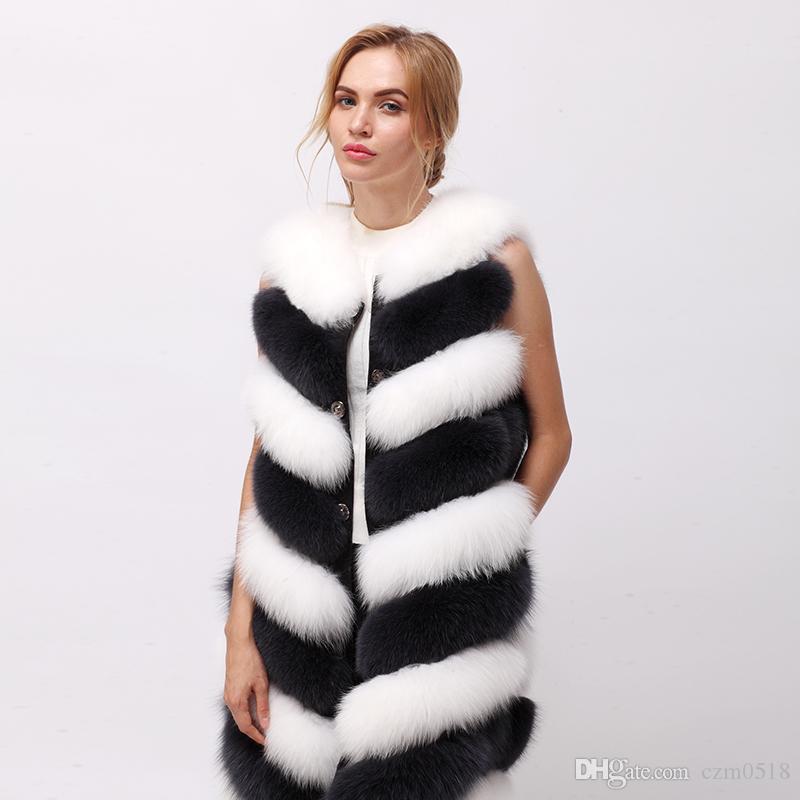 2017 winter new real fur vest fox fur vest natural arctic fox vest White fox 80cm