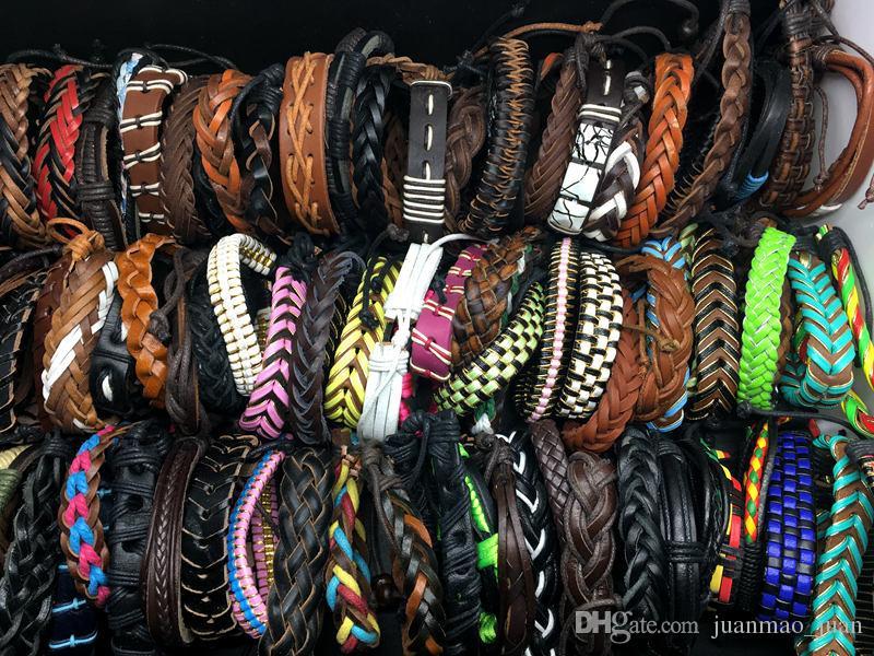 Оптовая 100 шт. Много топ Серфер племенной кожаный манжеты браслет Браслет ювелирные изделия для мужчин женщин подарок смешанный стиль отправить случайный