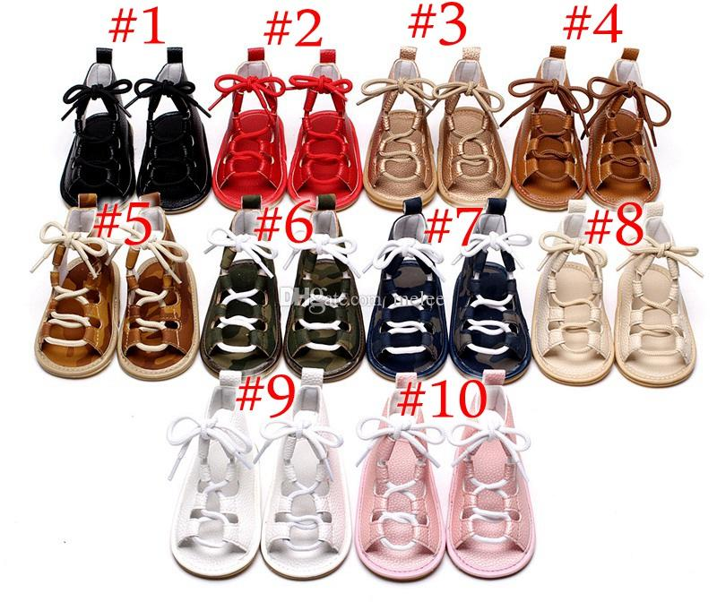 f1b3c298820ed Baby Girls sandals Summer toddler kids flat heels lace-up sandals girls  rome sandals baby high gladiator sandal child PU leather shoes
