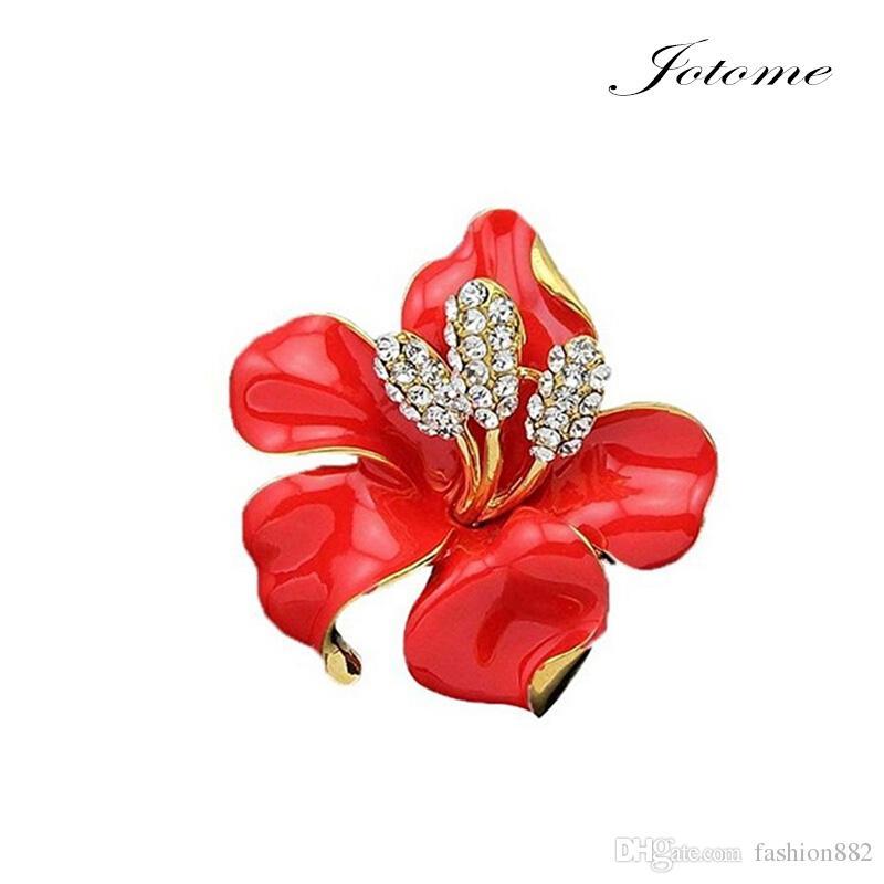 Bridal Wedding Jewelry Lily Rose Hibiscus flower Brooch Crystal Rhinestone Pins Gift
