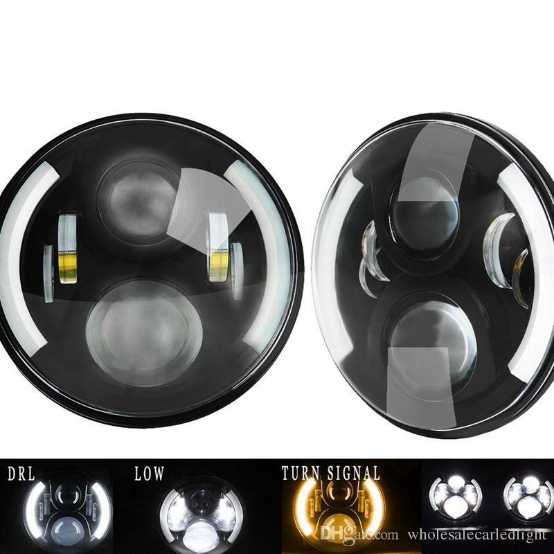 "7"" Inch LED Headlight With Halo Angel Eyes For Lada 4x4 urban Niva Jeep JK Land rover defender Hummer Led Headlamp"