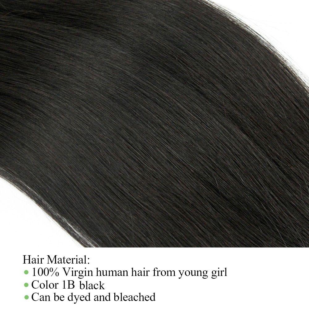 Öpücük Saç Siyah Renk 10-22 inç Ham Bakire Hint Ipeksi Düz Saç Örgü Brezilyalı Malezya Perulu İnsan Saç Atkı