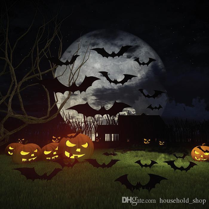 Bat Wall Stickers Halloween Decorations 3D Tridimensional Mural Festival Home Decor For Chrildren Room Pumpkin Ghost