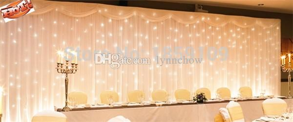 3x6m White Silk Wedding Backdrop Curtain Led LightDrape And Light For Wall Party Decorations From Lynnchow