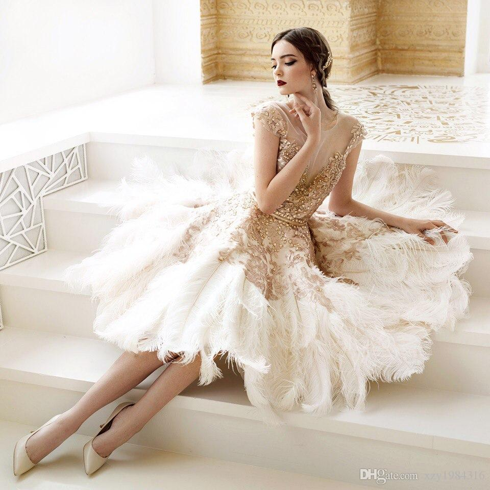 Luxury Feather Crystal Wedding Dresses Golden Appliques Sheer Neckline Cap Sleeves Sash Wedding Gowns Gorgeous Ankle Length Bridal Dresses