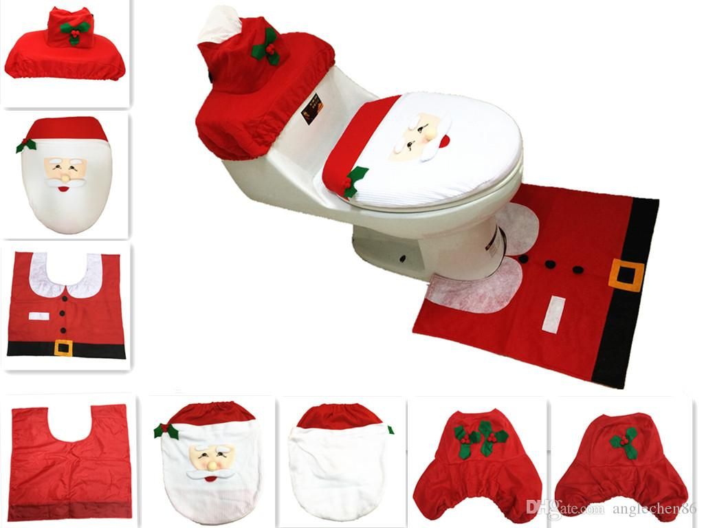 2018 Cheap Merry Christmas Santa Ornament Snowman Toilet Seat Cover Lid New Year Xmas Rug Bathroom Decoration Wholesale From Anglechen86