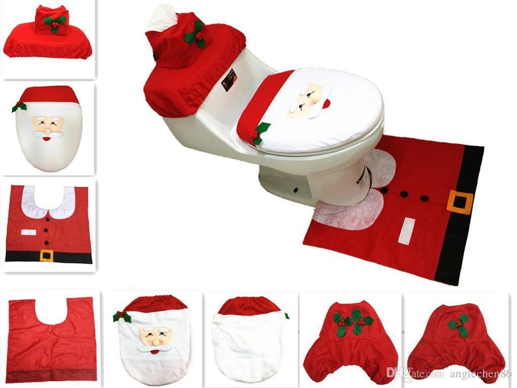 Phenomenal 3Pcs Set Cheap Merry Christmas Santa Ornament Snowman Toilet Seat Cover Toilet Lid New Year Xmas Christmas Rug Bathroom Decoration Wholesale Pabps2019 Chair Design Images Pabps2019Com