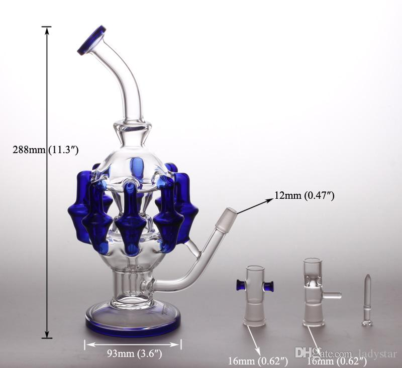 New Recycler Oil Rigs Glass Bongs Water Pipes Water Bongs smoking pipes 14mm Ash Catchers Bubblers Recycler Glass Bong dab rigs L184