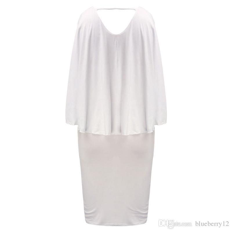 أزياء النساء اللباس زائد الحجم l / xl / xxl / xxxl السيدات كم batwing الخامس الرقبة كيب bodycon ضمادة عباءة ميدي حزب vestidos
