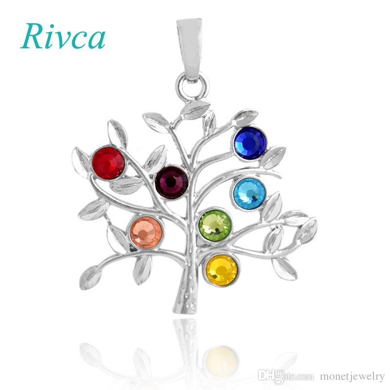 A0093 Rivca Natural Crystal 7 Chakra Stone Life Tree Necklace For Women Natural Reiki Symbols Jewelry Yogo Energy Pendant Amulet