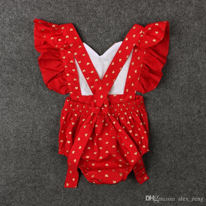 Bébé barboteuse été INS bébé coeur d'amour des filles Romper Infant Falbala mouche manches pois salopette vêtements Saint-Valentin