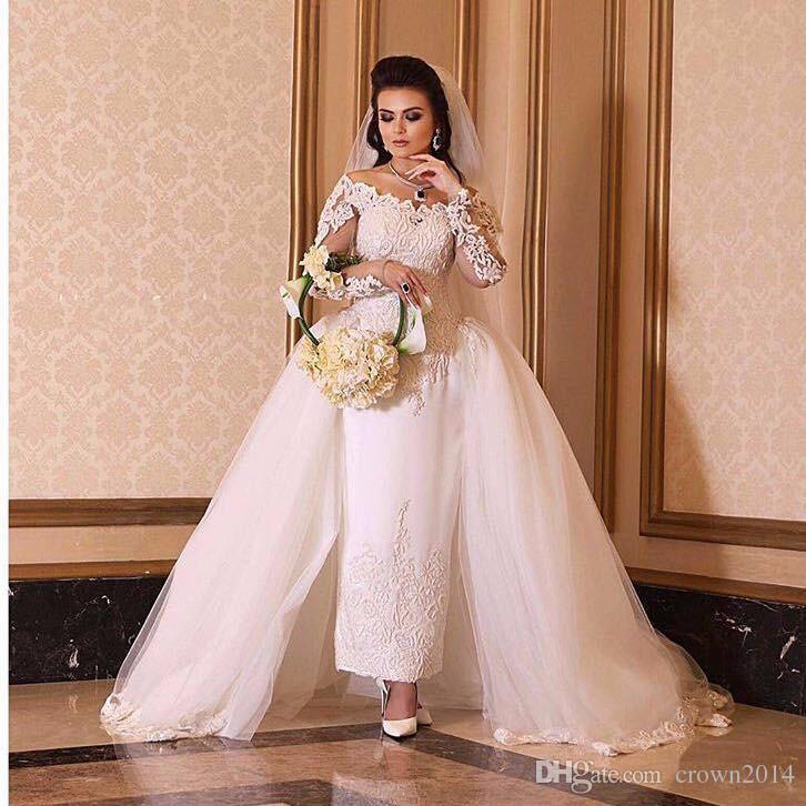 2019 Arabe Robe de mariée de l'épaule à manches longues socquettes Robes de mariée avec dentelle détachable train Applique Vestidos de Noiva