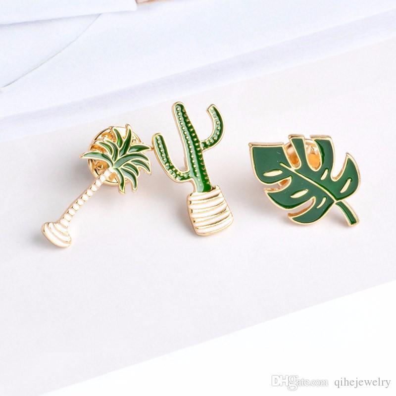 Kaktüs Palmiye Yapraklar Bitki Ağacı Doğal Yaka Pin Emaye Broş Yaka Pimleri Denim Ceket Kazak Dekor