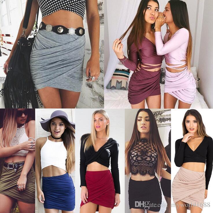 3256a771be Compre Moda es Mujeres Faldas Cortas Atractivas Womens Cross Fold Vendaje  Bodycon Club Wear Party Falda Lápiz Falda Vestido De Cintura Alta A  176.39  Del ...