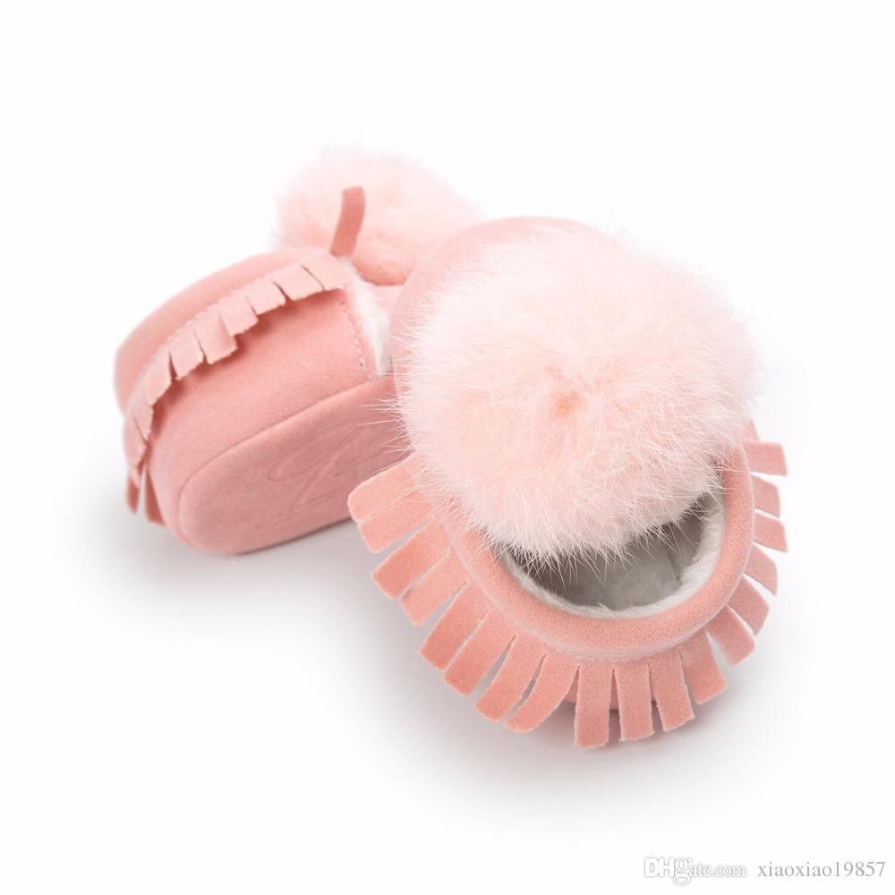 2017 Winter Warm New Baby Fringe Moccasins Fleece Fashion Fur Ball Ornaments Baby Shoes First Walkers Baby Boots