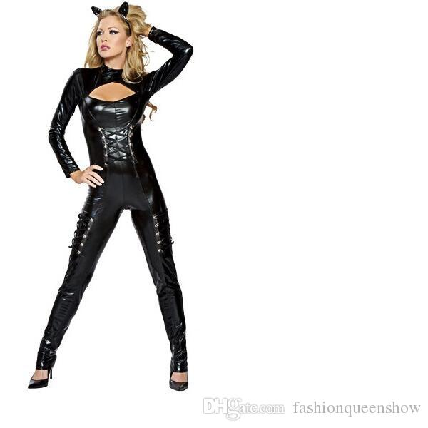 Sexy Catwoman New Faux Leather Pole Dance Bodycon Lace Up Jumpsuit Nightclub Catsuit Clubwear Halloween Cosplay Party Costumes