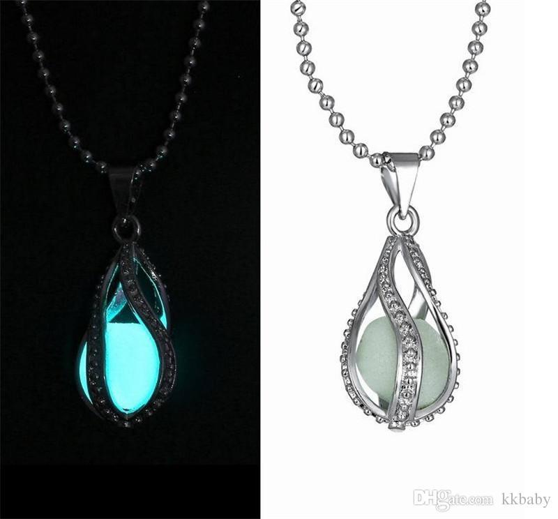 Collares de moda colgantes brillan en la oscuridad Locket de plata hueco colgante de piedra brillante declaración luminosa gargantilla colgante de collar para las mujeres
