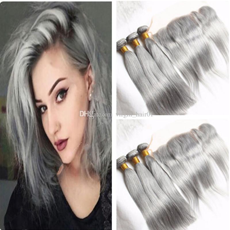 Pure Color Silver Grey Brazilian Straight Hair Weaves 3 Gray Bundles ...