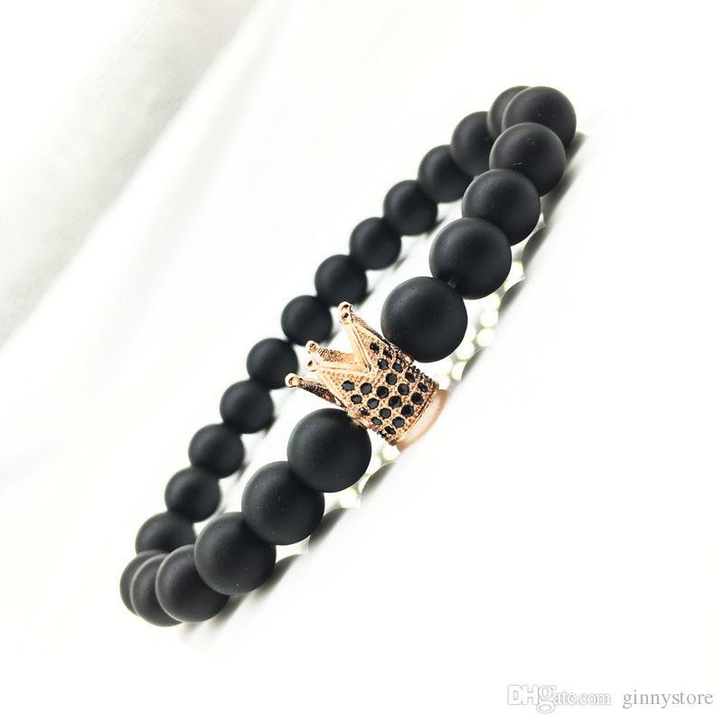 2018 NOUVEAU Handmade mat couronne yoga Bouddha Perles 4 Couleurs Pierre Naturelle Volcanique Rock Bracelets pour Hommes Femmes Bijoux