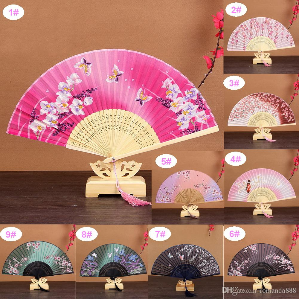 9 Designs Japanese Dancing Cherry Blossom Silk Folding Hand Fan ...