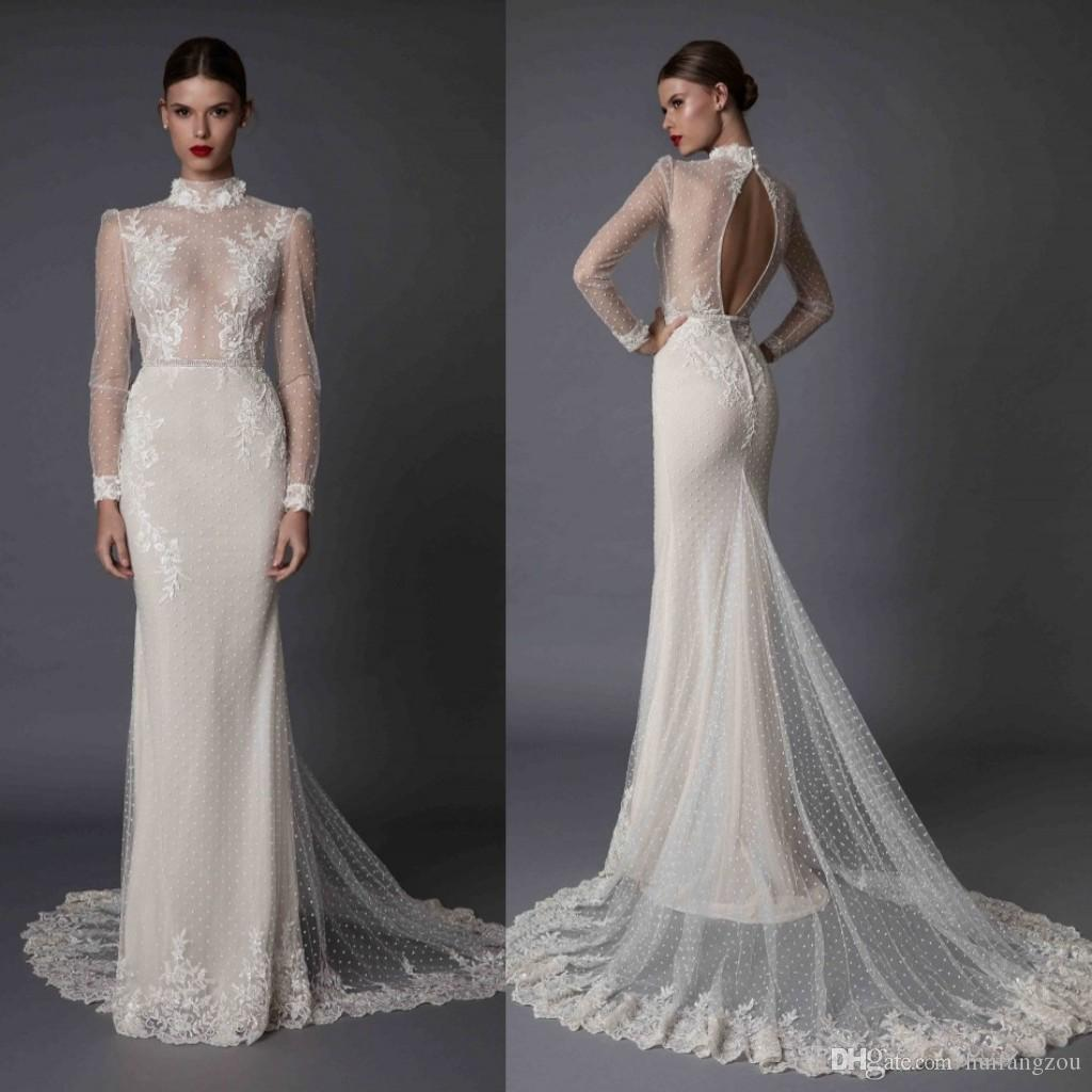 Betra 2017 Mermaid Wedding Dresses Long Sleeves Appliques