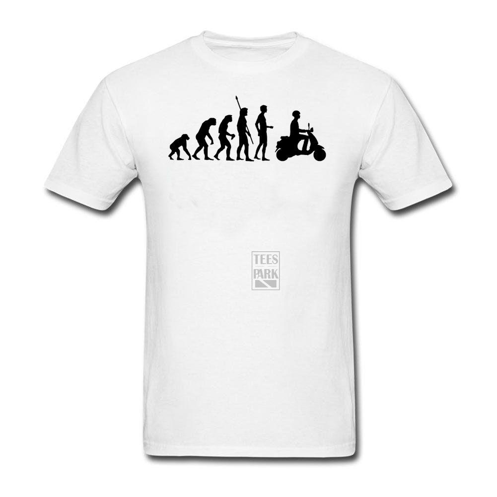 Print Own T Shirt Evolution Vespa Mens Round Collar Shorts T Shirt ...