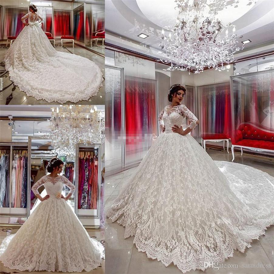 Arabic Country Western Bridal Gowns Chapel Train Covered Button ...