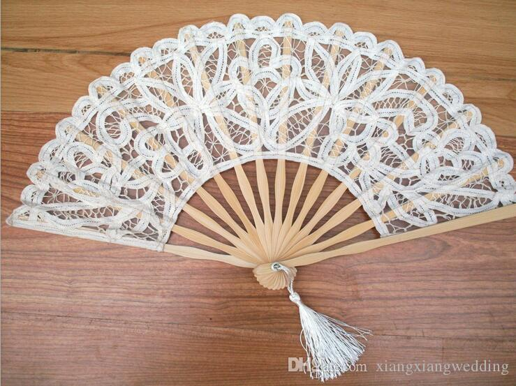 Handmade Cotton Lace Hand Held Fan For Party Bridal Bamboo Frame ...