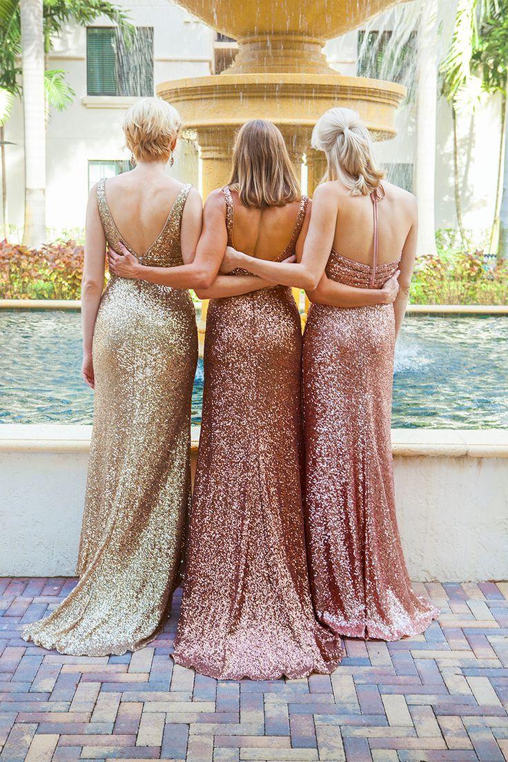 2017 Sparkly Gül Altın Ucuz Mermaid Nedime Elbiseleri Spagetti Kolsuz Sequins Backless Uzun Plaj Düğün Törenlerinde Altın Şampanya