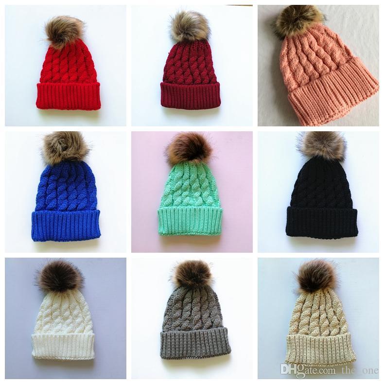 2017 Newborn Baby Girls Winter Warm Hat Fur Ball Pom Pom Cap Kids Winter  Knitted Wool Hats Caps For Kids 6-24 Months Pom Pom Hat Kids Fur Pompom  Hats Kids ... 471e6a4ab45d