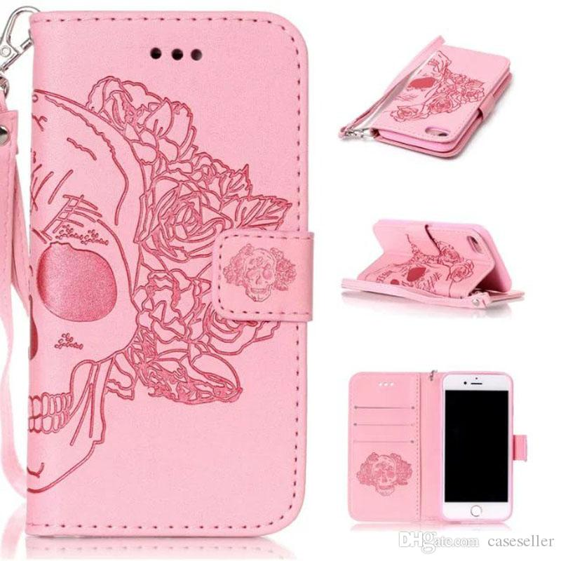 Beautiful Wallet Leather Case PU Flip Soft Gel Cover Embossed Campanula Flower case for iphone 7 plus 5S 6S plus S7 edge