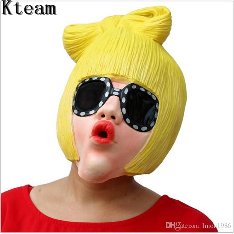 Hot Realistic Lady Gaga Party Halloween Latex Rubber Mask Cosplay Costume Full Face Masks Woman Man Children Mask Anonymous Masquerade