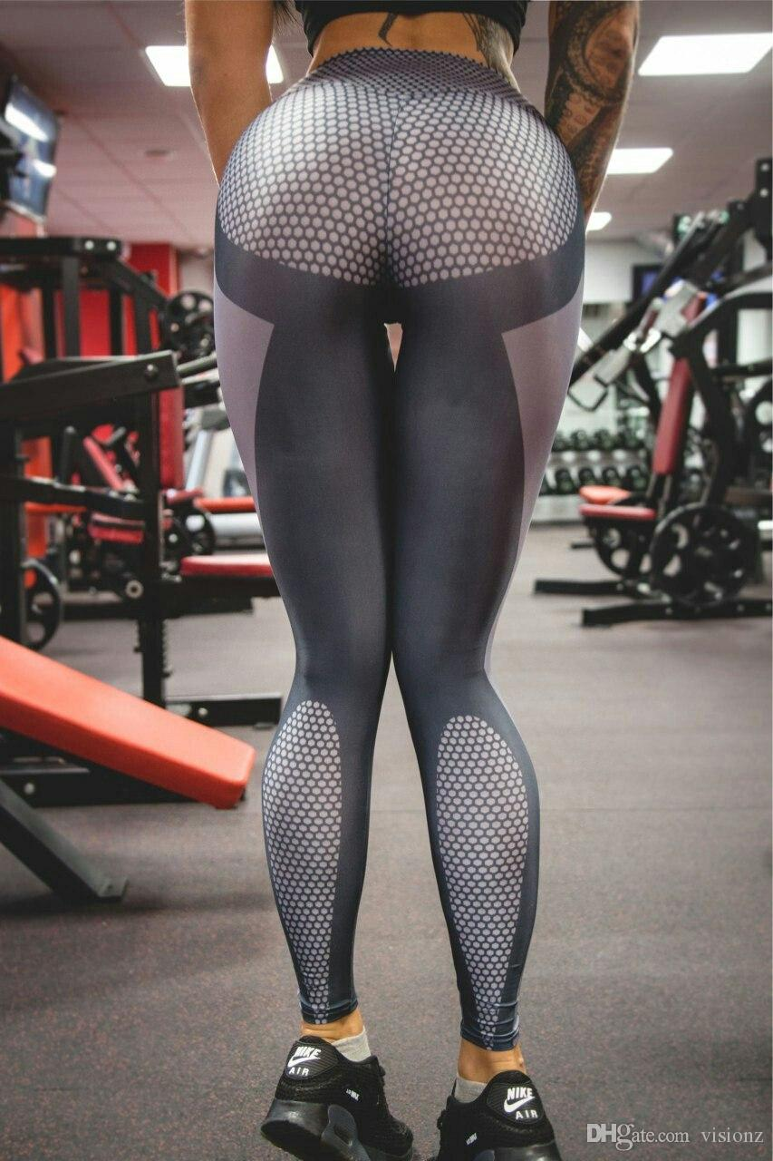 2017 Women Yoga Pants Sports Exercise Tights Fitness Running ...