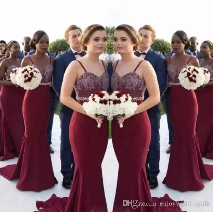 94f025c515bf Mermaid Burgundy Long Bridesmaid Dresses 2017 African Straps Lace Maid Of  Honor Gowns Wedding Guest Dresses Cheap Custom Made Cocktail Bridesmaid  Dresses ...