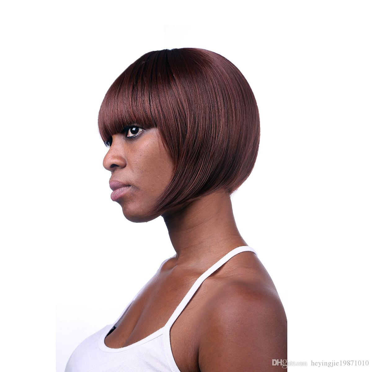 Xiu Zhi Mei 8inch Wine Red Short Bob Wigs For Black Women Heat Resistant Synthetic Straight Hair Wig With Bangs
