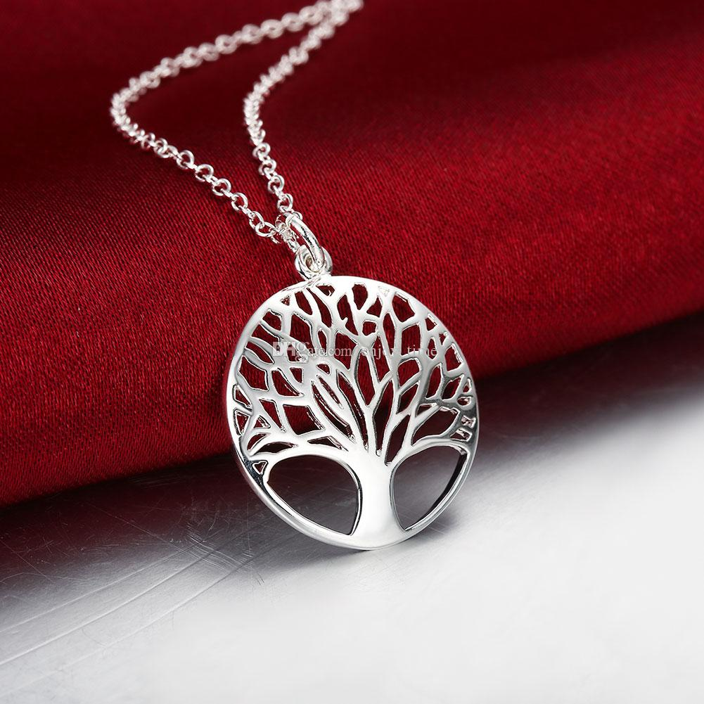 VENDA QUENTE Bonito Árvore De Prata Vida conjunto de Jóias Colar Brinco Senhora Esposa Amigo Mulheres Encantos Do Presente Do Casamento Dos Namorados S828
